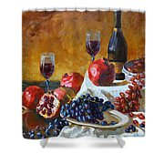 Grapes And Pomgranates Shower Curtain