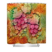 Grapes With Rust Background Shower Curtain