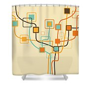 Graphic Tree Pattern Shower Curtain