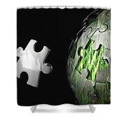 Grass Jigsaw Globe Shower Curtain