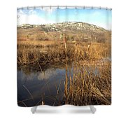 Grass Swamp And Snow Shower Curtain