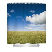 Grassy Field On Hill With Blue Skies Shower Curtain