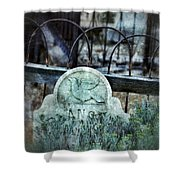 Gravestone With Dove Carved  Shower Curtain