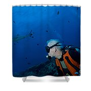 Gray Reef Shark With Diver, Papua New Shower Curtain by Steve Jones