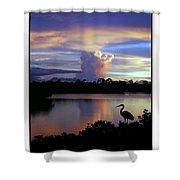 Great Blue Heron Sunset Shower Curtain