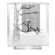 Great Egret - Gnarled Tree Shower Curtain