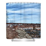 Great Falls Rr Bridge 10477c Shower Curtain