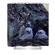 Great Horned Owl Twins Shower Curtain