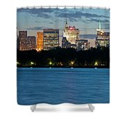 Great Pond Skyline Shower Curtain