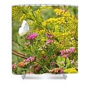 Great Southern White Butterfly Likes The Pink Flowers Shower Curtain