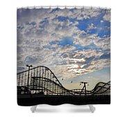 Great White Roller Coaster - Adventure Pier Wildwood Nj At Sunrise Shower Curtain