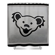 Greatful Dead Dancing Bear In Black And White Shower Curtain