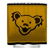 Greatful Dead Dancing Bear In Orange Shower Curtain