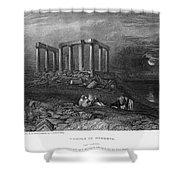 Greece: Cape Sounion, 1832 Shower Curtain
