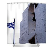 Greek Flag Flying Shower Curtain