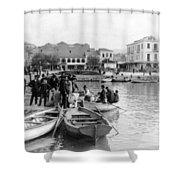 Greek Immigrants Fleeing Patras Greece - America Bound - C 1910 Shower Curtain