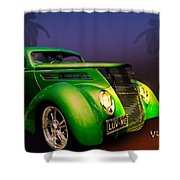 Green 37 Ford Hot Rod Decked Out For A Tropical Saint Patrick Day In South Texas Shower Curtain