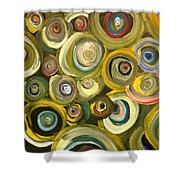 Green Abstract Feeling Shower Curtain