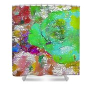 Green Abstract Rose Shower Curtain