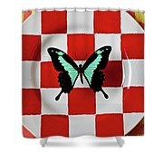 Green And Black Butterfly On Red Checker Plate Shower Curtain
