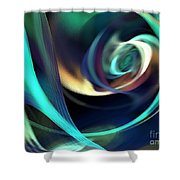 Green And Blue Lines Shower Curtain