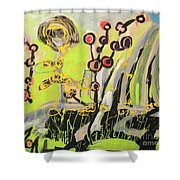 Green And Blue Weed Painting Shower Curtain