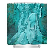 Green Angel Shower Curtain