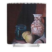 Green Apples On Sepia Shower Curtain