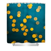 Green Background With Gold Dots  Shower Curtain
