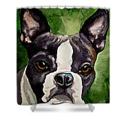 Green Black And White Shower Curtain
