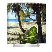 Green Chair On The Beach Shower Curtain