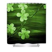 Green Cherry Blossom Shower Curtain