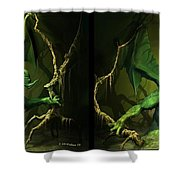 Green Dragon - Gently Cross Your Eyes And Focus On The Middle Image Shower Curtain