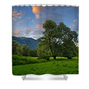 Green Field With Trees Shower Curtain