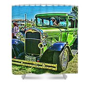 Green Ford Street Rod Hdr Shower Curtain