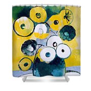 Green Jug With Round Flowers Shower Curtain