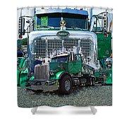 Green Peterbilt Dbl. Exposure Shower Curtain
