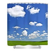 Green Rolling Hills Under Blue Sky Shower Curtain