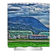 Green Roofed Barn-hdr Shower Curtain