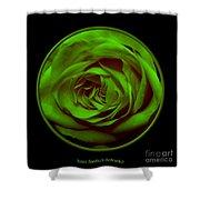 Green Rose On Black Shower Curtain