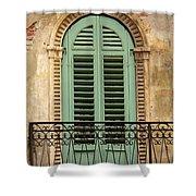 Green Shutters And Balcony In Verona Shower Curtain