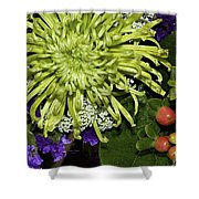 Green Spider Mum Shower Curtain