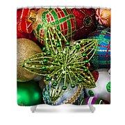 Green Star Christmas Ornament Shower Curtain