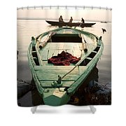 Green Stationary Boat At Waters Edge Shower Curtain