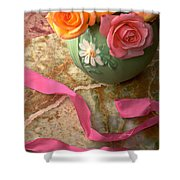 Green Vase With Roses Shower Curtain