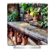 Greenhouse With Flowerpots Shower Curtain