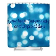 Greeting Card Blue With White Lights Shower Curtain