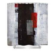Power Trip - Grey And Red Abstract Art Painting Shower Curtain