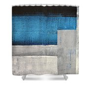 Straight Forward - Teal And Grey Abstract Art Painting Shower Curtain