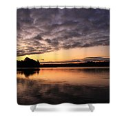 Grey Clouds And Orange Sunrise Shower Curtain